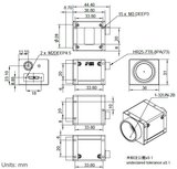Mechanical drawing and dimensions of USB3 Vision camera 12.3MP Color with Sony IMX304 sensor, model ME2P-1230-23U3C