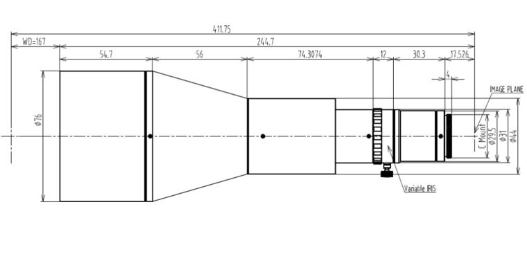 LCM-TELECENTRIC-0.188X-WD167-1.5, Telecentric C-mount Lens, magnification 0.188X, sensorsize 2/3