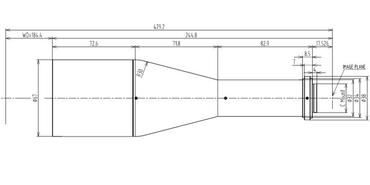 LCM-TELECENTRIC-0.367X-WD184-1.3, Telecentric C-mount Lens, magnification 0.367X, sensorsize 4/3