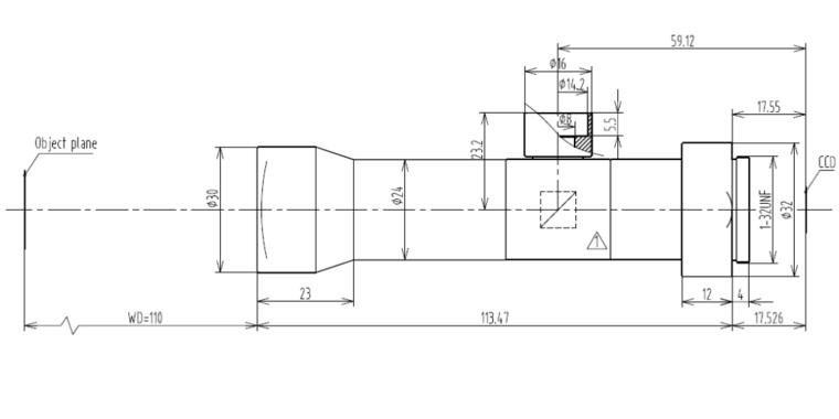 LCM-TELECENTRIC-4X-WD110-1.5, Telecentric C-mount Lens, magnification 4X, sensorsize 2/3