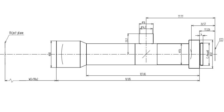 LCM-TELECENTRIC-6X-WD110-1.5, Telecentric C-mount Lens, magnification 6X, sensorsize 2/3