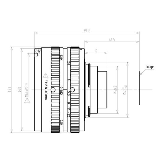 LFM-29MP-40MM-F2.8-43-ND1, LENS F-mount 29MP 40MM F2.8 ImageCircle=43mm NON DISTORTION