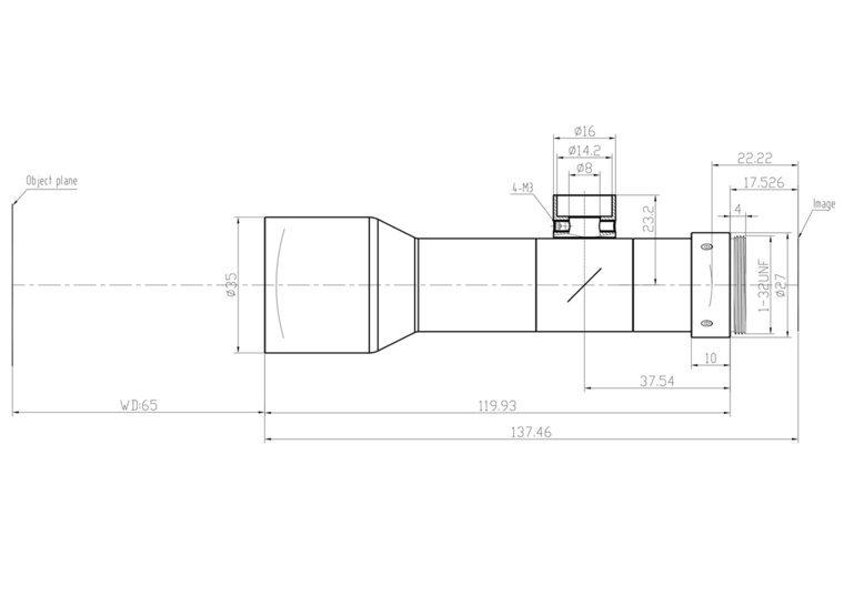 """LCM-TELECENTRIC-0.5X-WD65-1.5-CO, Bi-Telecentric C-mount lens, Magnification 0.5x, Sensorsize 2/3"""""""