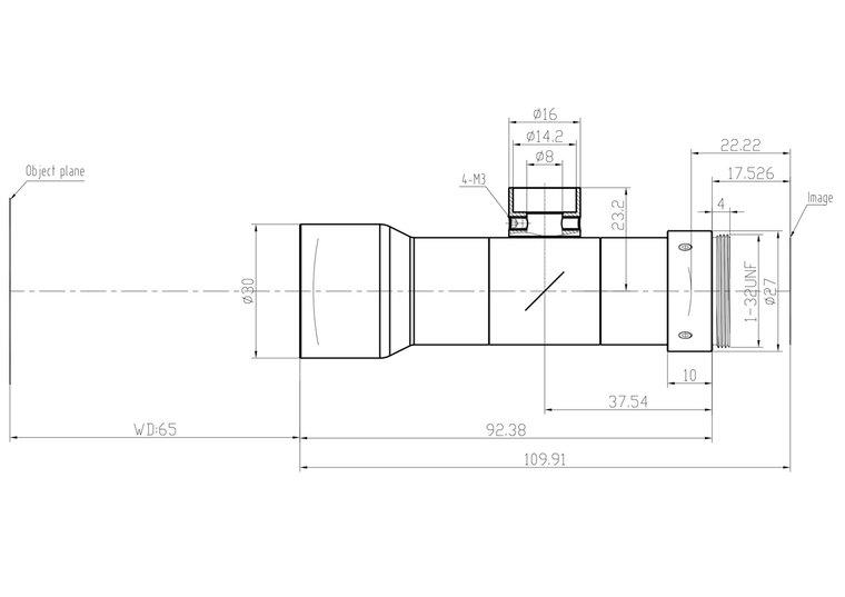 """LCM-TELECENTRIC-1X-WD65-1.5-CO, Bi-Telecentric C-mount lens, Magnification 1x, Sensorsize 2/3"""""""