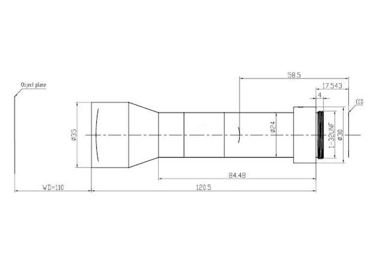 "LCM-TELECENTRIC-0.5X-WD110-1.5-NI, Bi-Telecentric C-mount lens, Magnification 0.5x, Sensorsize 2/3"""