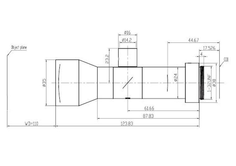 """LCM-TELECENTRIC-0.5X-WD110-1.5-CO, Bi-Telecentric C-mount lens, Magnification 0.5x, Sensorsize 2/3"""""""