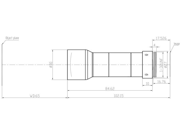 "LCM-TELECENTRIC-0.75X-WD65-1.5-NI, Bi-Telecentric C-mount lens, Magnification 0.75x, Sensorsize 2/3"""