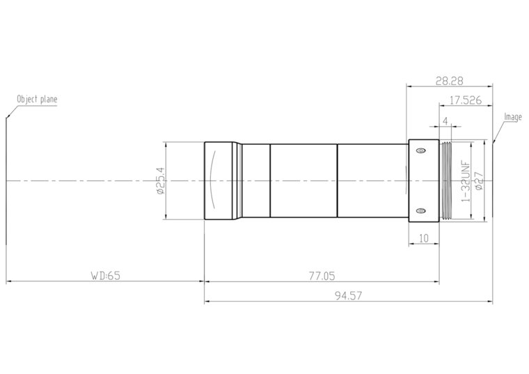 "LCM-TELECENTRIC-2X-WD65-1.5-NI, Bi-Telecentric C-mount lens, Magnification 2x, Sensorsize 2/3"""