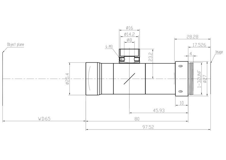 """LCM-TELECENTRIC-2X-WD65-1.5-CO, Bi-Telecentric C-mount lens, Magnification 2x, Sensorsize 2/3"""""""