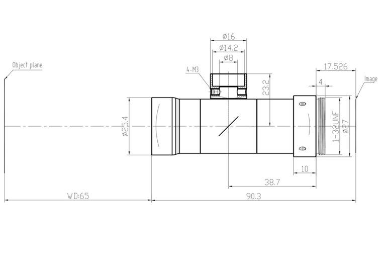 """LCM-TELECENTRIC-1.5X-WD65-1.5-CO, Bi-Telecentric C-mount lens, Magnification 1.5x, Sensorsize 2/3"""""""