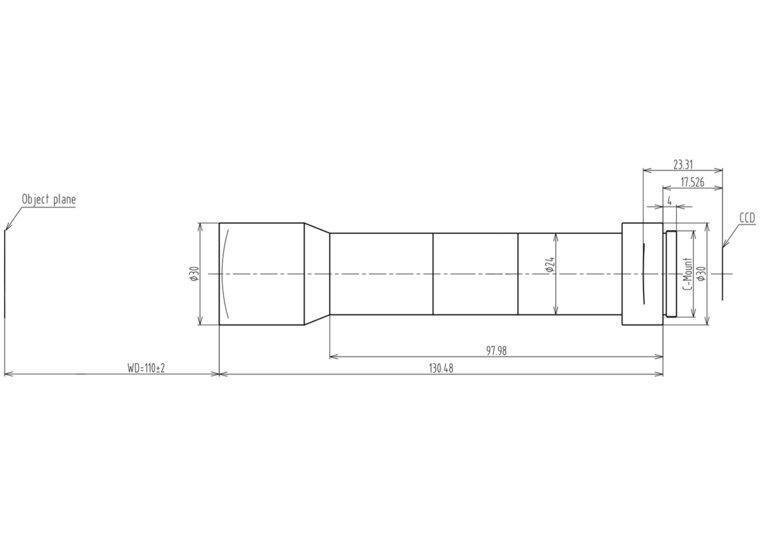 "LCM-TELECENTRIC-2X-WD110-1.5-NI, Bi-Telecentric C-mount lens, Magnification 2x, Sensorsize 2/3"""