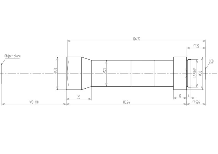 "LCM-TELECENTRIC-4X-WD110-1.5-NI, Bi-Telecentric C-mount lens, Magnification 4x, Sensorsize 2/3"""