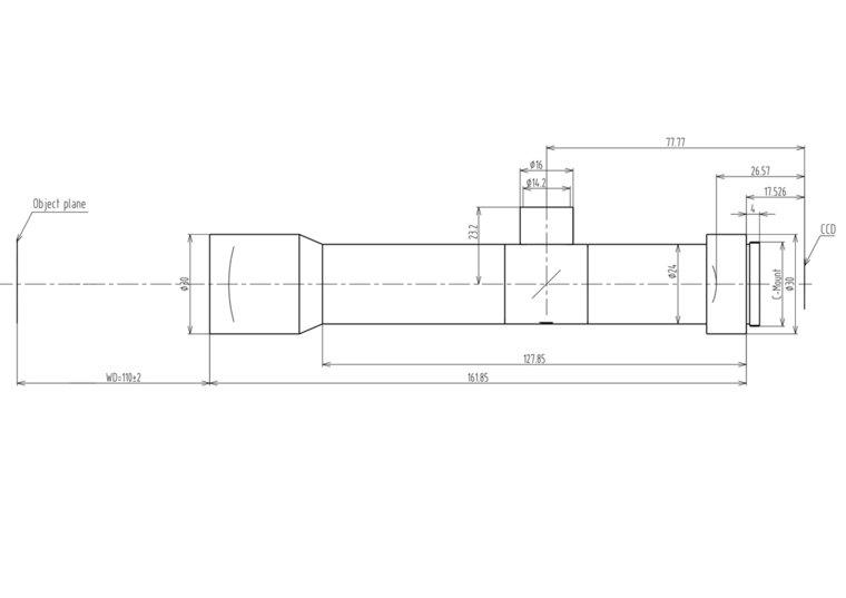 """LCM-TELECENTRIC-6X-WD110-1.5-CO, Bi-Telecentric C-mount lens, Magnification 6x, Sensorsize 2/3"""""""