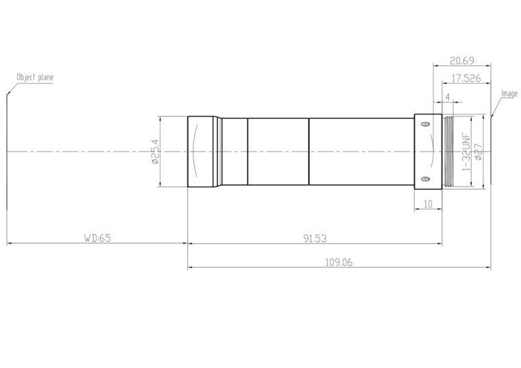 "LCM-TELECENTRIC-3X-WD65-1.5-NI, Bi-Telecentric C-mount lens, Magnification 3x, Sensorsize 2/3"""