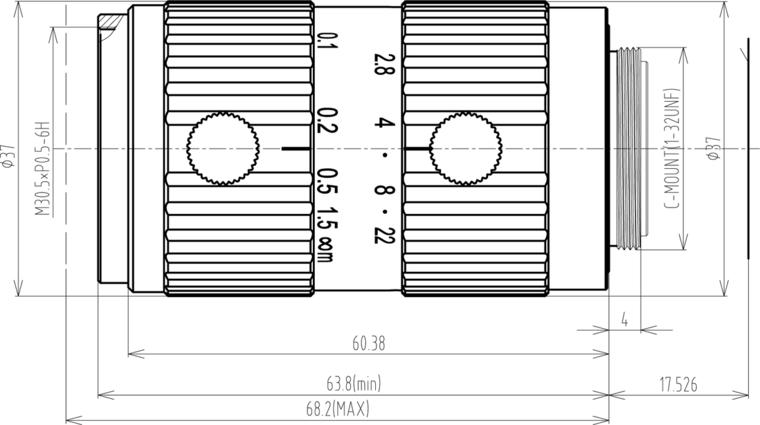 LCM-25MP-25MM-F2.8-1.1-ND1, LENS C-mount 25MP 25MM F2.8 1.1