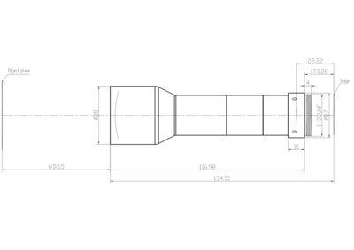"LCM-TELECENTRIC-0.5X-WD65-1.5-NI, Bi-Telecentric C-mount lens, Magnification 0.5x, Sensorsize 2/3"""